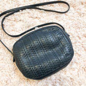 Vintage Faux Leather Black Woven Crossbody Purse